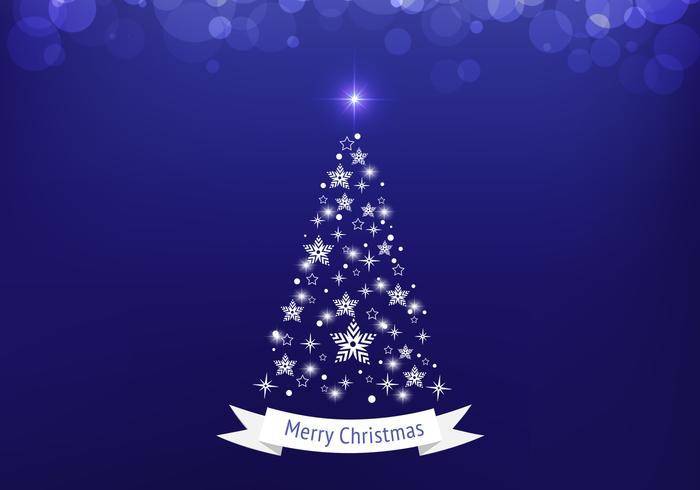 Blue Bokeh Christmas Tree Vector Background
