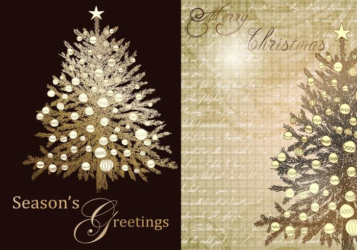 Vintage Christmas Tree Greeting Vector Pack