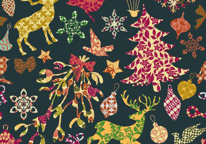 Seamless Patchwork Christmas Pattern Vector