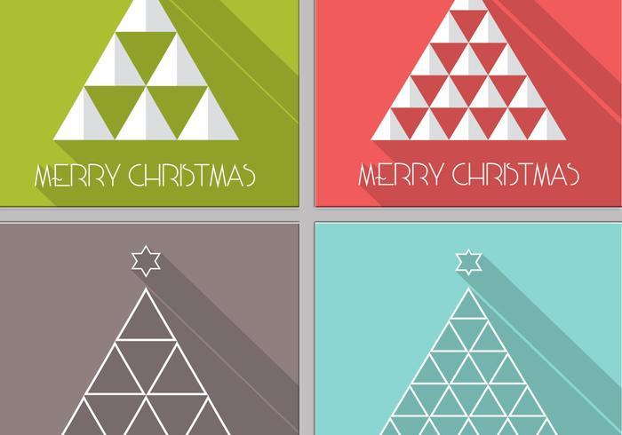 Long Shadow Christmas Tree Vector Pack