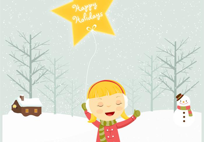 Little Girl in the Snow Holiday Vector Background