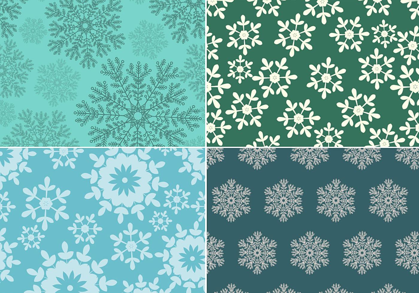 Seamless-snowflake-pattern-vector-pack