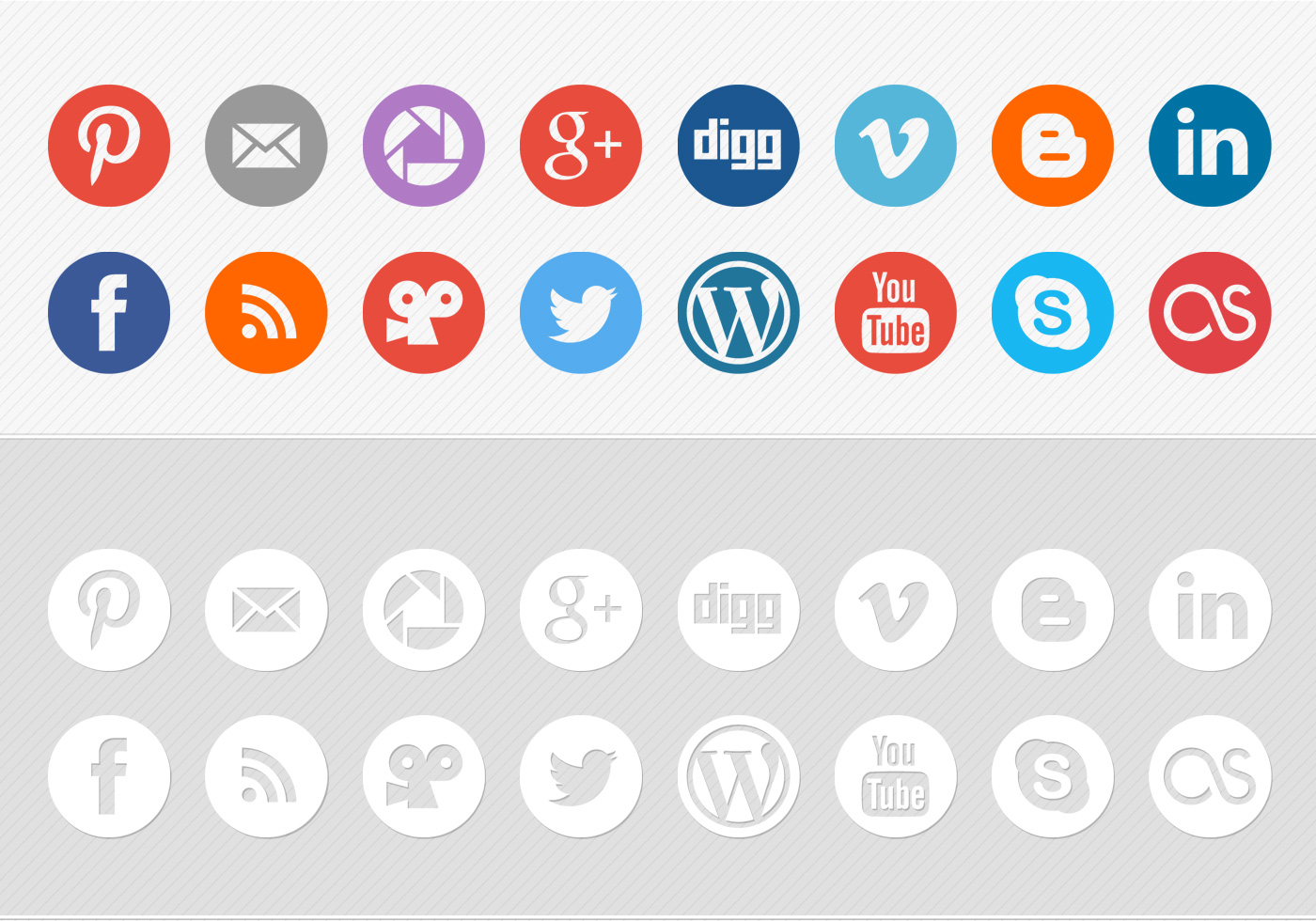 Vector White Social Media Icons - Complete web icon set