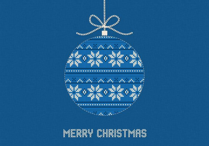 Blue Knitted Merry Christmas Vector Background