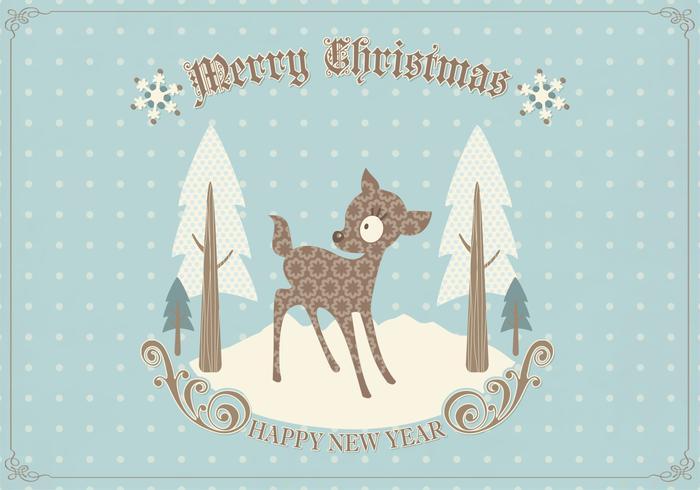Retro Deer Christmas Card Vector