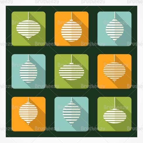 Retro Christmas Ornament Vector Icons Pack