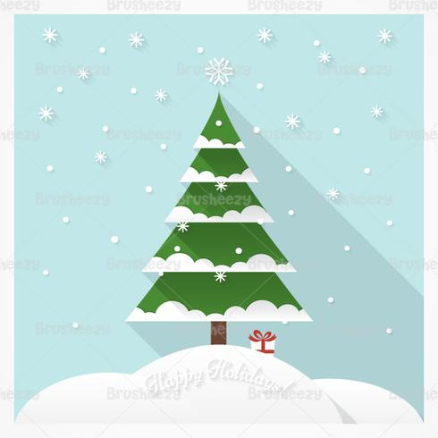 Snow Covered Christmas Tree Vector Background
