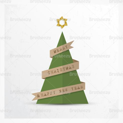 Paper Christmas Tree Vector Background