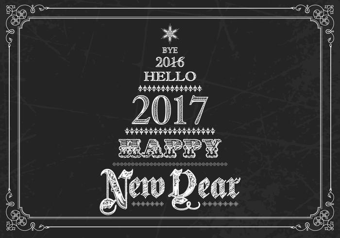 Chalk Drawn New Year Vector Background