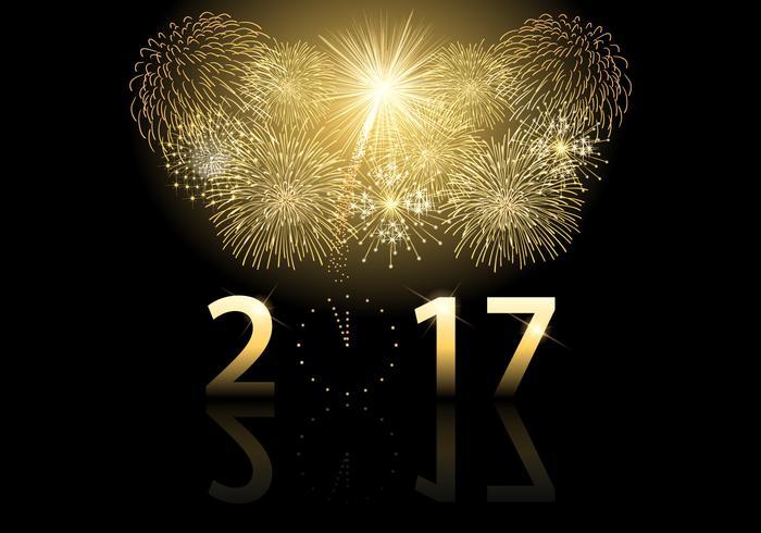 Golden 2017 Fireworks Vector Background