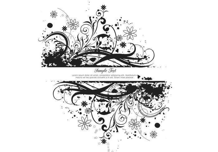 Zwarte Floral Grunge Banner Vector