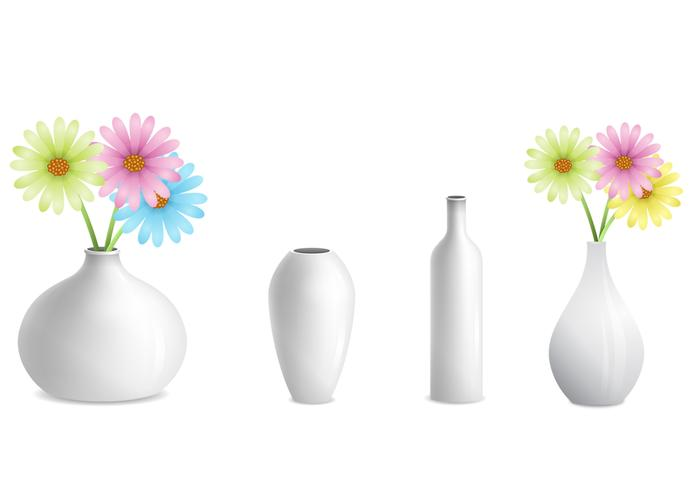 Grey Vases with Flower Vector Pack