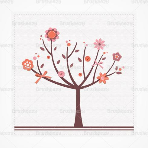 Scrapbook Floral Tree Vector