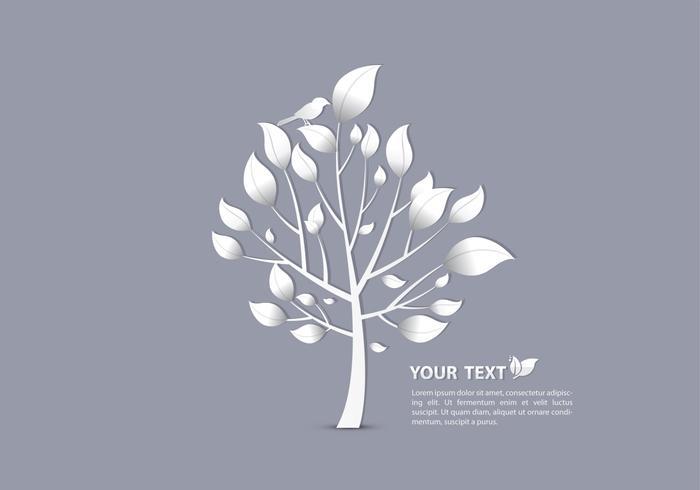 Pássaro de prata no papel de parede do vetor da árvore