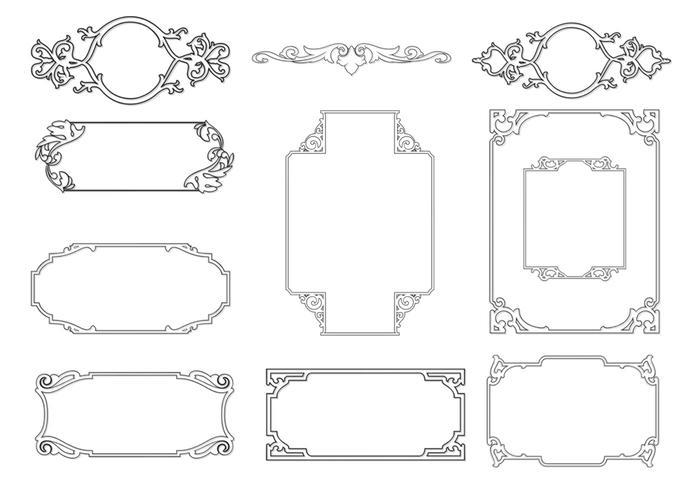 Outlined Ornamental Frame Vector Pack