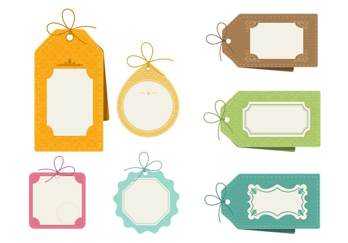 Retro Patterned Tag Vector Pack