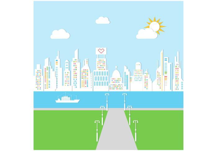 Sunny City Background Vector