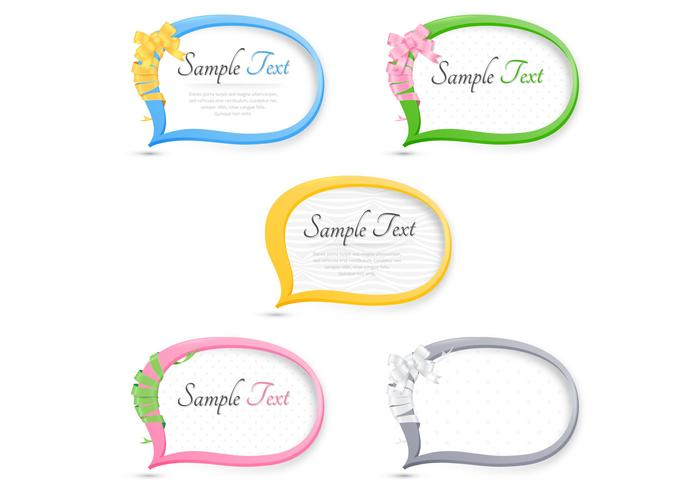 Ribbon Wrapped Speech Bubble Vector Pack