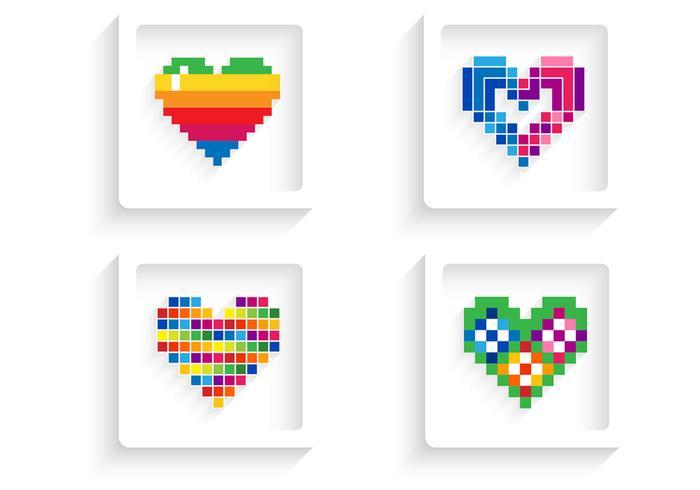 Pack de vecteurs de coeur pixélisé