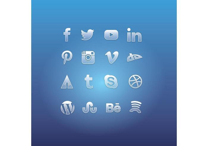 Glass Social Media Icon Vectors