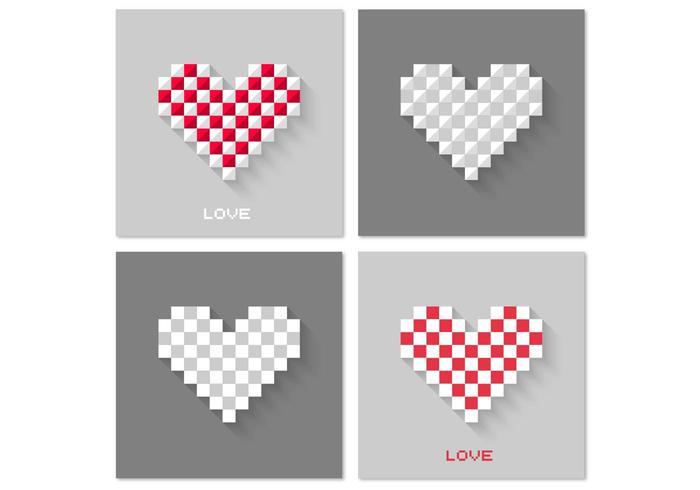 Pixel Heart Vector Background Pack