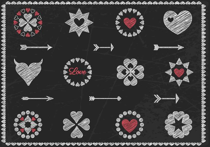 Chalk Drawn Heart Vector and Arrow Vector Pack