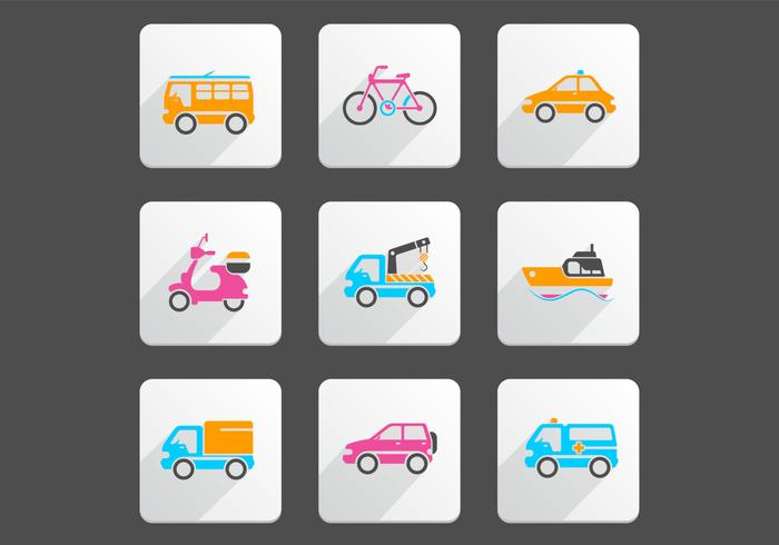 Bright Transportation Vector Icon Pack