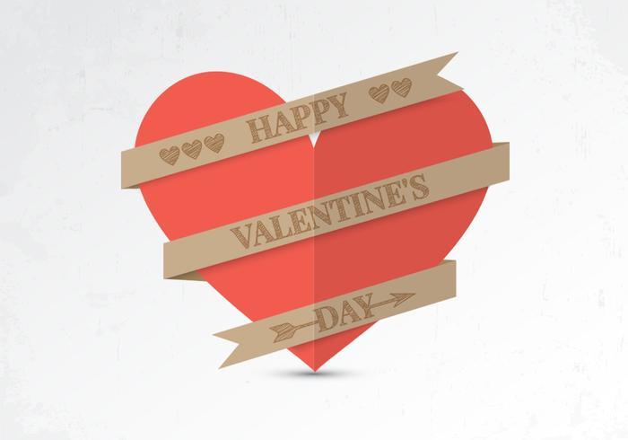Paper Valentine Heart Vector Background