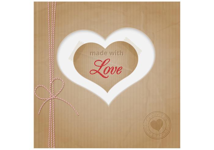 Cardboard Heart Vector Background