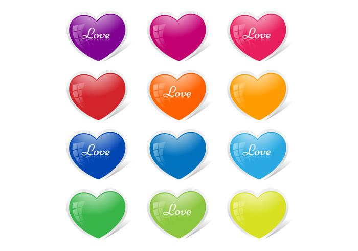 Glossy Heart Button Vector Pack