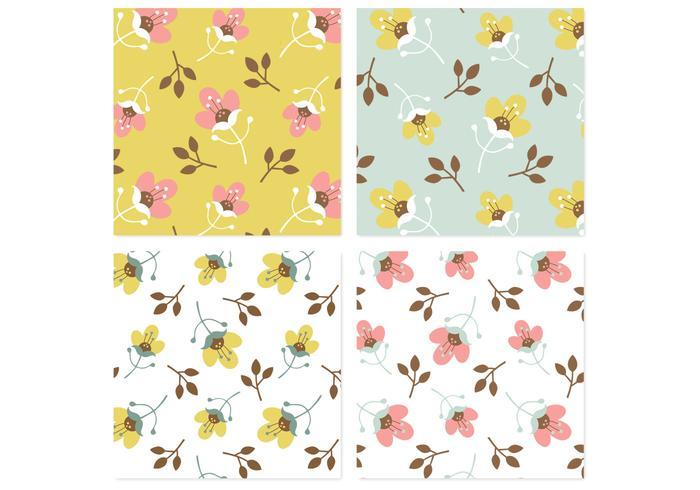 Retro Blossom Background Vector Pack