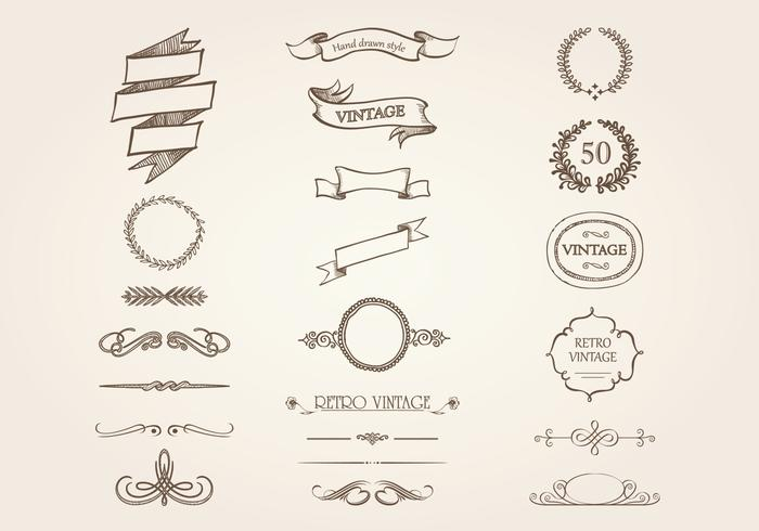 Hand Drawn Ornement vintage Pack Vector