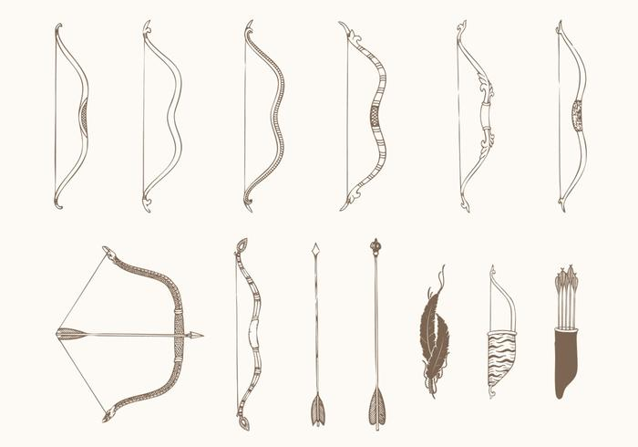 Hand Drawn Bows and Arrows Vectors Pack - Download Free ...