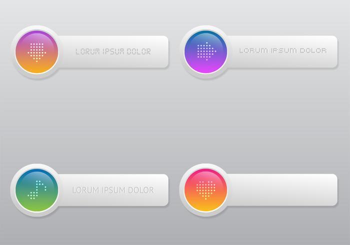 Bright Colored Button Vector Set