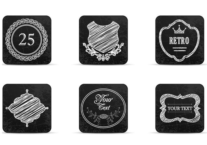 Chalk Drawn Retro Label Icons Vectors