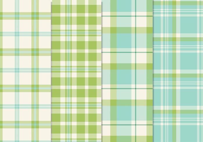 Fresh Blue Green Seamless Plaid Patterns Vector