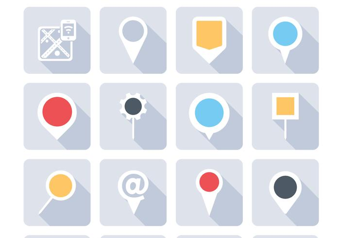 Mapa Plano Con Pin Icono De Puntero De La: Botones De Navegación Iconos Vector Set
