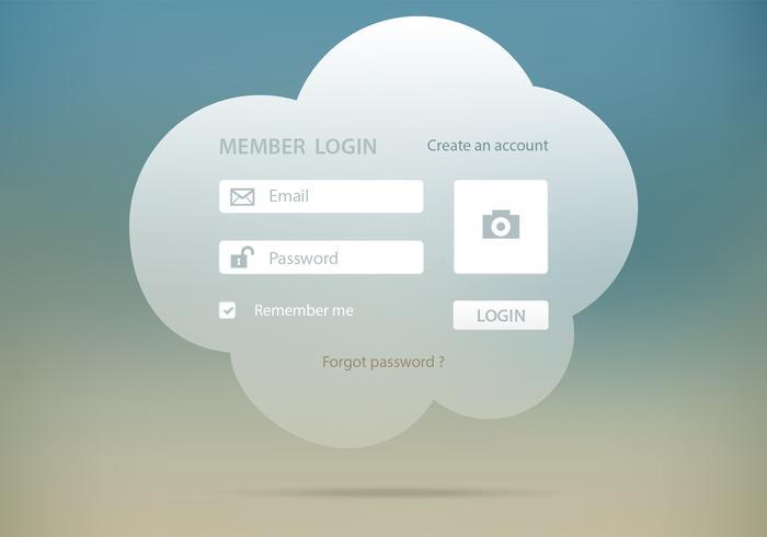 Cloud Login Form Vector