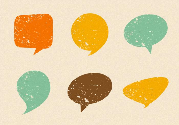Grunge Retro Speech Bubbles Vector Set