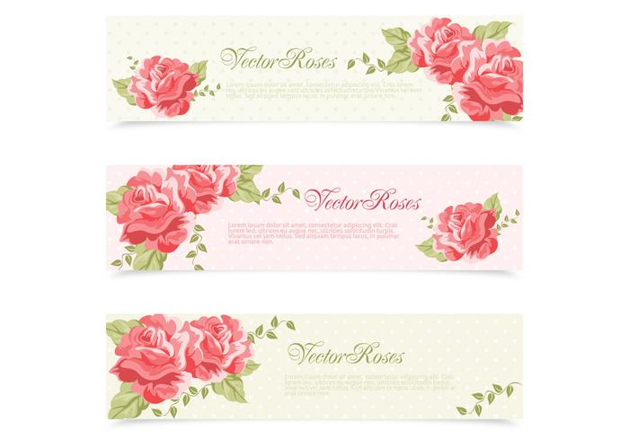 Red Pink Painted Retro Roses Banner Vector Set