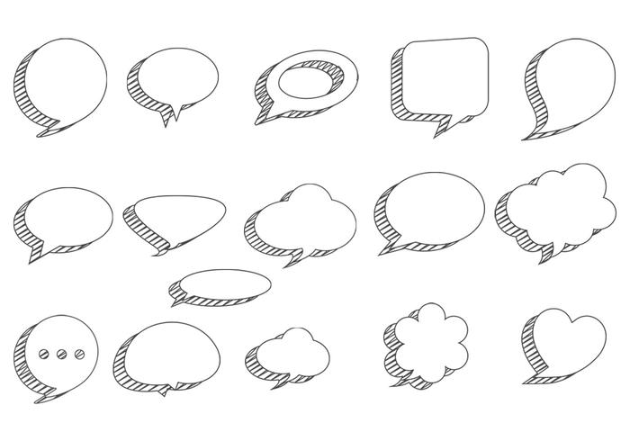 Sketchy Speech Bubbles Vector Pack