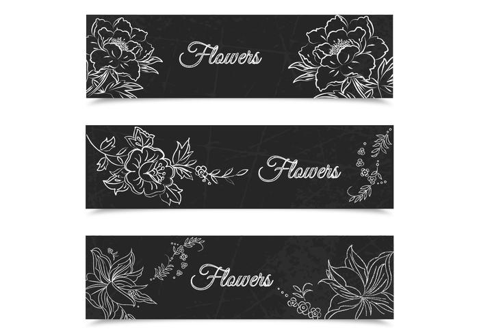 Chalk Drawn Floral Banners Vector Set