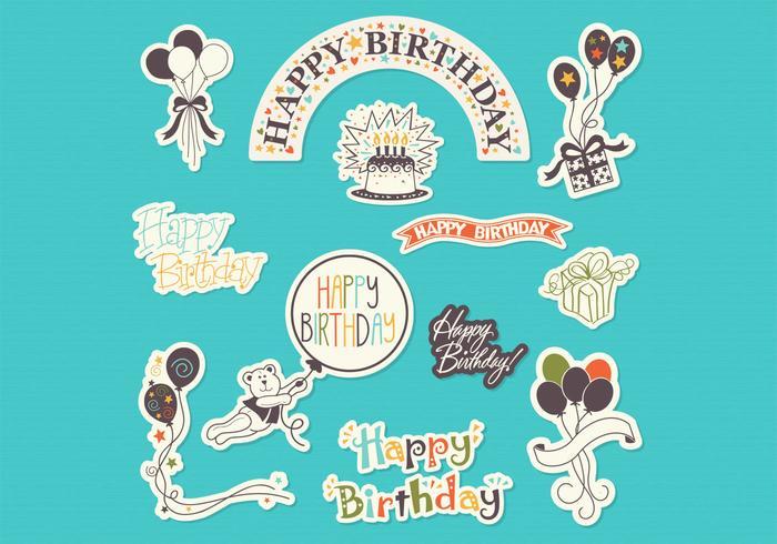 Happy Birthday Sticker Set Vector