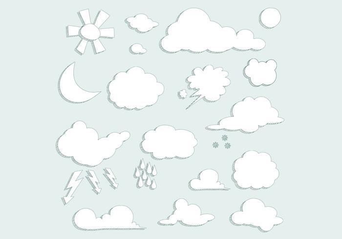 Sketched Clouds Weather Vector Set
