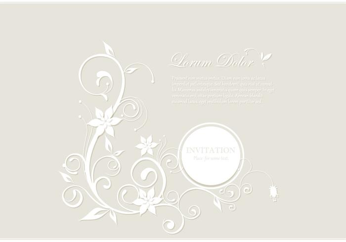 White Floral Card Vector