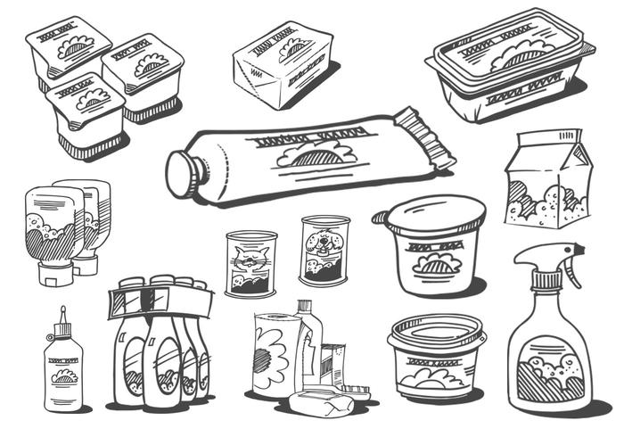 Sketched Food Products Vectors