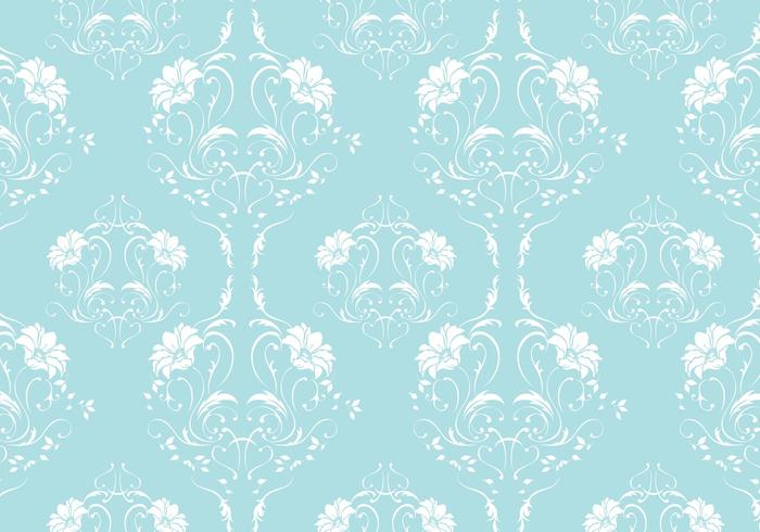 Robin Egg Blue Damask Vector Pattern