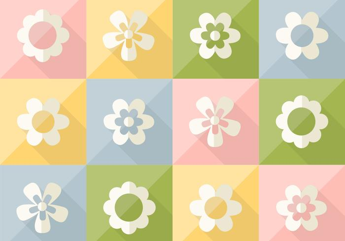 Flowers on Pastel Colored Vector Pattern