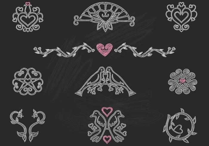 Kreide Drawn Heart Birds Ornamente Vector Pack
