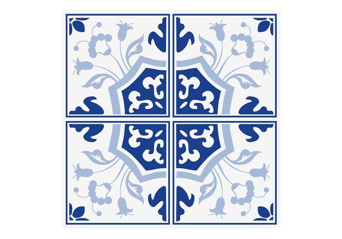 Vetor de azulejos florais delft azul